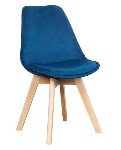 Stolička modrá Velvet látka/buk LORITA