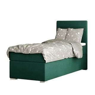 Boxspringová posteľ jednolôžko zelená 80x200 pravá SAFRA