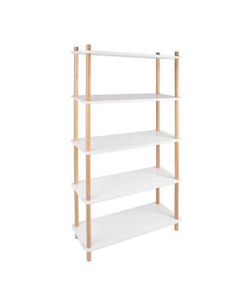 Leitmotiv Biely regál s bambusovými nohami Leitmotiv Cabinet Simplicity