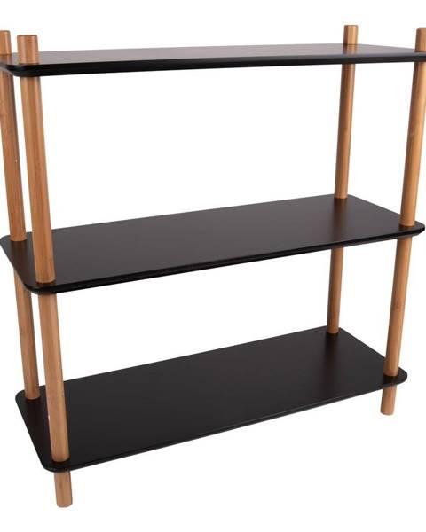 Leitmotiv Čierny regál s bambusovými nohami Leitmotiv Cabinet Simplicity, 80 x 82.5 cm