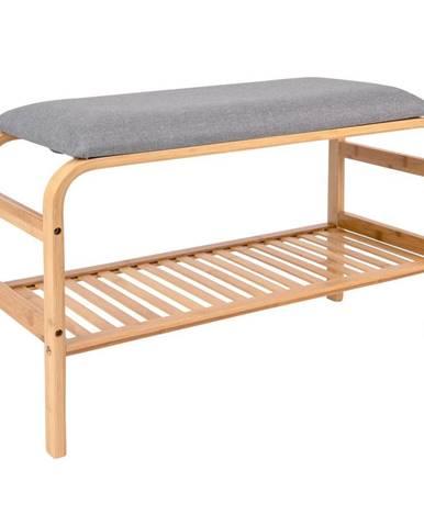 Bambusová lavica so sivým polstrovaním Leitmotiv Dure