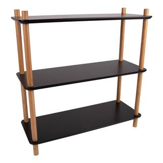 Čierny regál s bambusovými nohami Leitmotiv Cabinet Simplicity, 80 x 82.5 cm