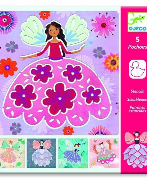 Djeco Súprava 5 šablón Djeco Flower Fairies