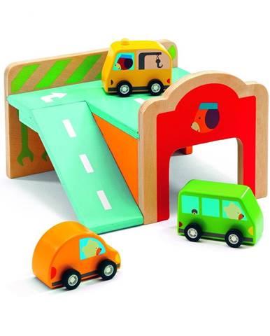 Set 3 drevených autíčok s garážou Djeco Garage