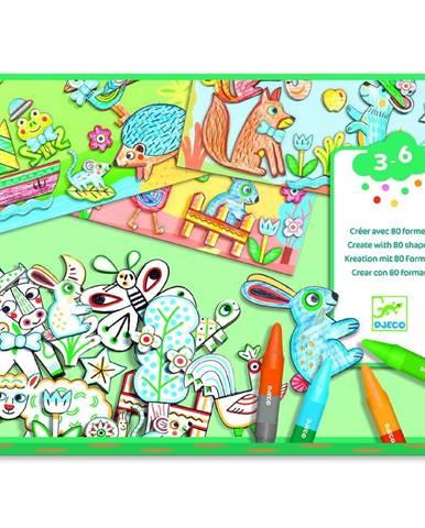 Výtvarný set na vyfarbovanie a nalepovanie Djeco Animal Friends