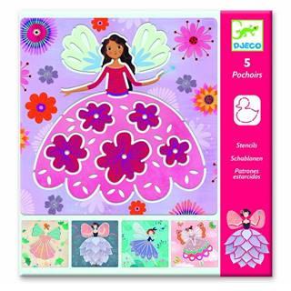Súprava 5 šablón Djeco Flower Fairies