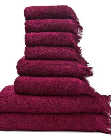 Set 6 vínovočervených bavlnených uterákov a 2 osušiek Casa Di Bassi Bath