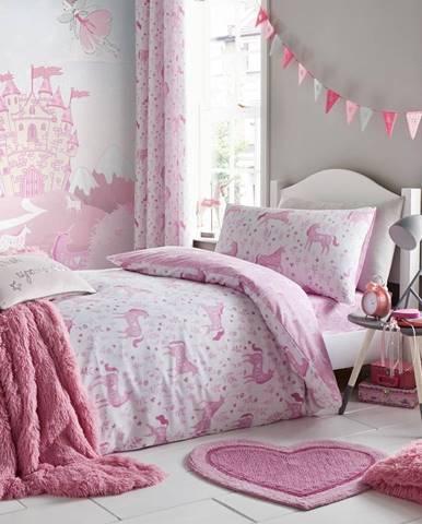 Ružové obliečky na jednolôžko Catherine Lansfield Unicorn, 135×200cm