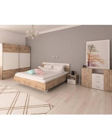 Spálňový komplet (posteľ 160x200 cm) dub wotan/biela GABRIELA