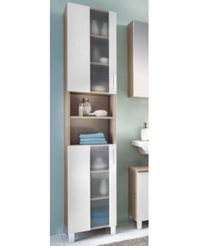 Kúpeľňová vysoká skrinka Porto, dub sonoma/biela%