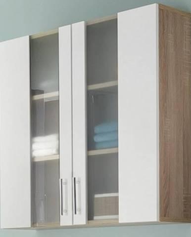 Kúpeľňová závesná skrinka Porto, 2-dverová, dub sonoma/biela%