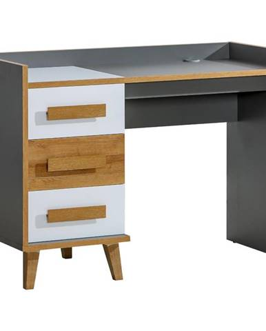 Písací stôl W8 Werso Riviera/Biely/Antracyt
