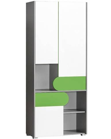 Skriňa 3D Futuro F2 Zelená/Biely/Grafit