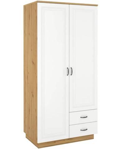 Skriňa Flawia 120cm 2D2S Biały/Artisan