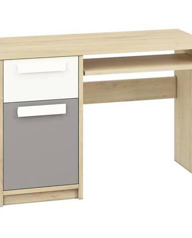 Písací stôl 14 Drop Buk Fjord/Biely/Šedá Platina