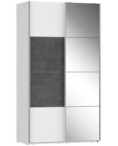 Skriňa Olivia 120 biela/beton/zrkadlo 1D
