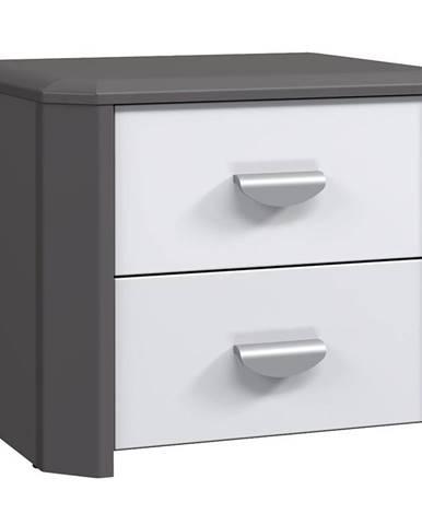Nočný stolík Hey sivá / biela