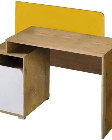 Písací stôl Bruno 8  dub lefkas/biela/žltá