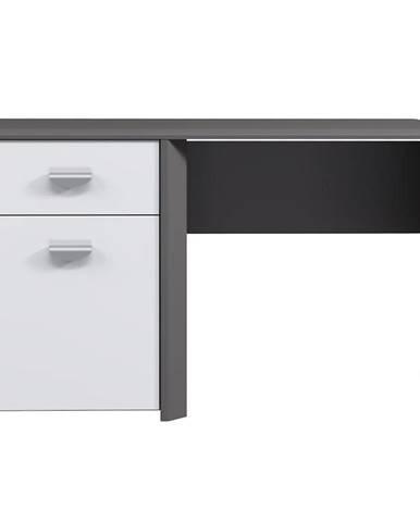 Písací stôl Hey sivá / biela