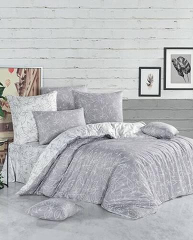 BedTex Bavlnené obliečky Flores strieborná
