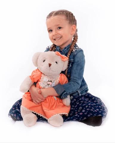 Plyšový medvedík smotanová/oranžová 45cm MADEN GIRL TYP1