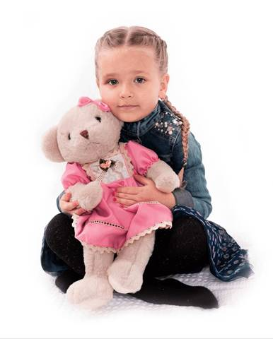 Plyšový medvedík smotanová/ružová 45cm MADEN GIRL TYP1