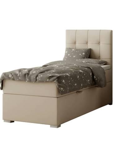 Boxspringová posteľ jednolôžko svetlohnedá 80x200 pravá DANY