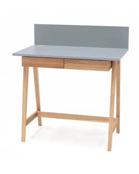 Ragaba Sivý písací stôl s podnožím z jaseňového dreva Ragaba Luka, dĺžka 85 cm