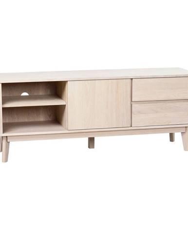 Televízny stolík z bieleného dubového dreva Rowico YuRAi