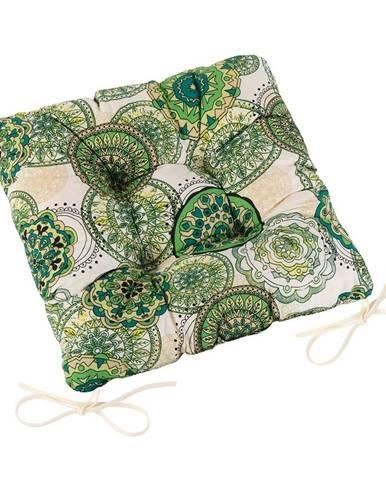 Bellatex Sedák Adela prešívaný Mandala zelená, 40 x 40 cm