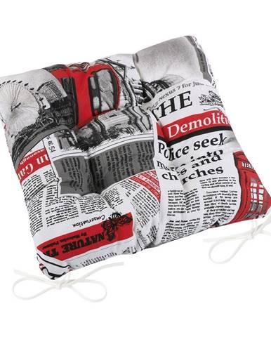 Bellatex Sedák Ema prešívaný Noviny červená, 40 x 40 cm
