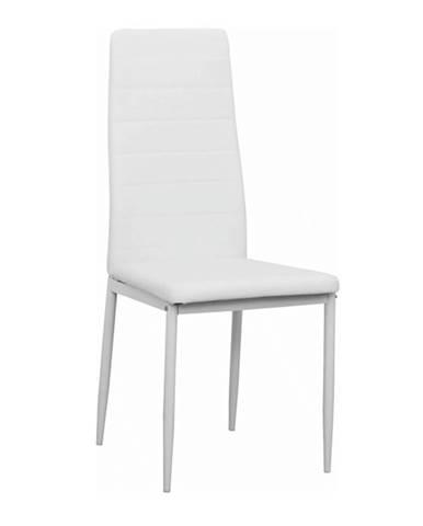 Stolička biela ekokoža/biely kov COLETA NOVA