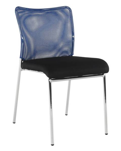 Tempo Kondela Zasadacia stolička modrá/čierna/chróm ALTAN rozbalený tovar