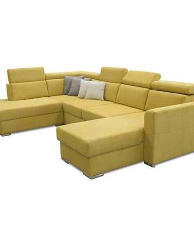 Luxusná sedacia súprava žltá/hnedé vankúšiky ľavá MARIETA U rozbalený tovar