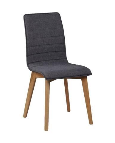 Tmavosivá jedálenská stolička s hnedými nohami Rowico Grace