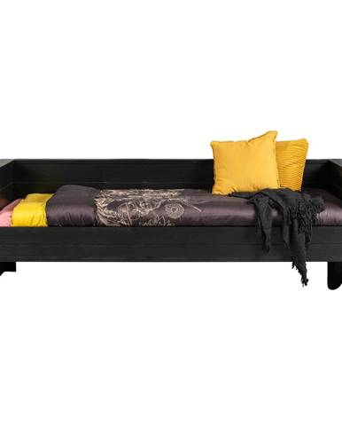 Čierna posteľ/sofa z borovicového dreva WOOOD Dennis