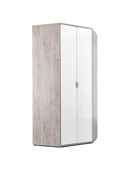 Xora Xora ROHOVÁ SKRIŇA, biela, farby dubu, 100/216,5/100 cm - biela, farby dubu