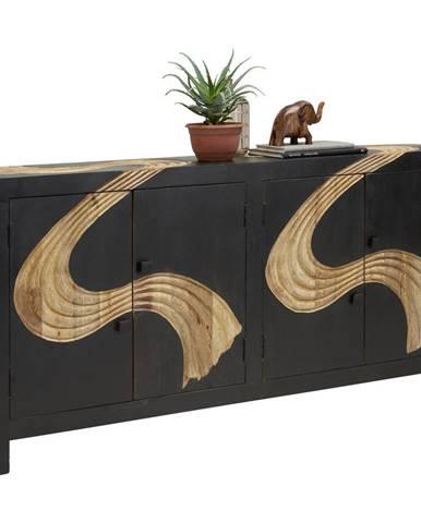 Ambia Home KOMODA, mangové drevo, prírodné farby, čierna, 180/90/40 cm - prírodné farby, čierna