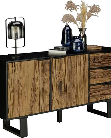 Ambia Home PRÍBORNÍK/KOMODA, staré drevo, prírodné farby, čierna, 150/75/40 cm - prírodné farby, čierna