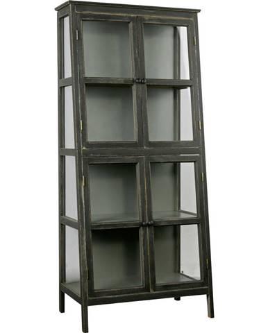 Ambia Home VITRÍNA, borovica, čierna, 79/173/45,5 cm - čierna