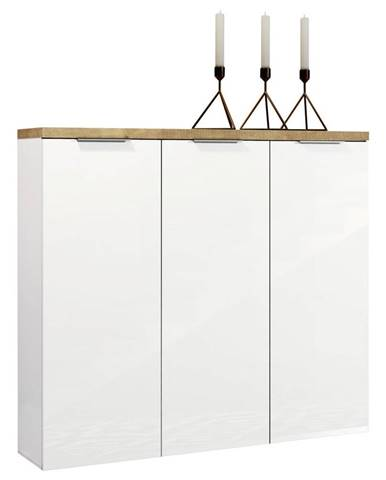 Xora SKRINKA NA TOPÁNKY, biela, farby dubu, 120/115/34 cm - biela, farby dubu
