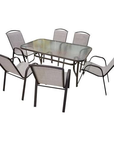 Sada sklenený stôl + 6 stoličiek béžová