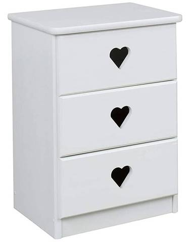 Nočný stolík Srdce  biely