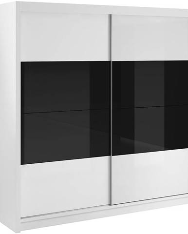 Skriňa Verona 200 biely/čierny