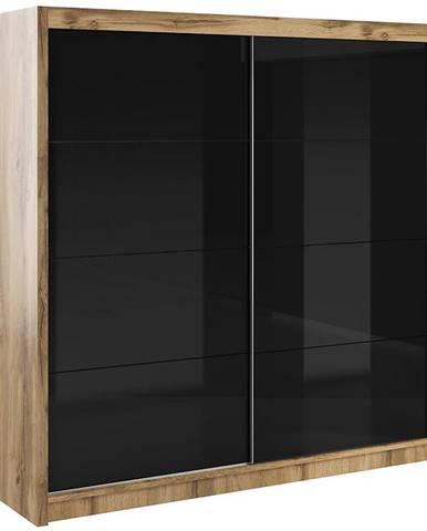 Skriňa Verona 200 čierne sklo