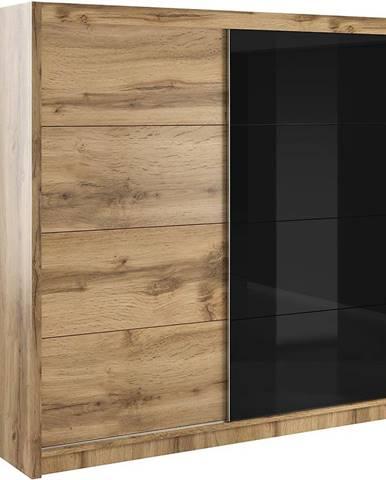 Skriňa Verona 200 čierne sklo/wotan