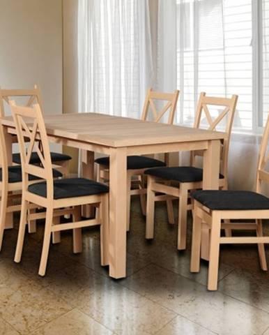 Jedálenský set Kasper-6x stolička,stôl rozklad,dub sonoma,čierna
