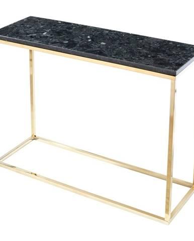 Čierny žulový konzolový stolík s podnožím v zlatej farbe, dĺžka 100 cm