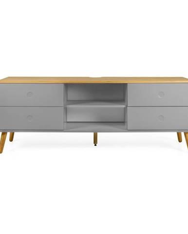 Sivý TV stolík s detailmi v dekore dubového dreva Tenzo Dot, šírka 162 cm