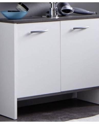 Kúpeľňová skrinka pod umývadlo California, biela/šedý dub, 2 dvere%
